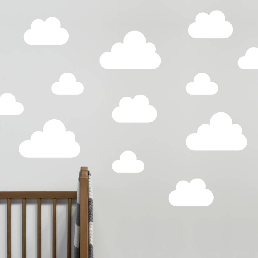 Pictures of Small / White cloud wall stickers