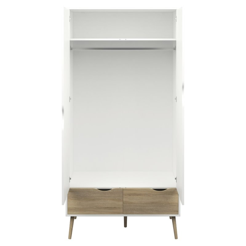 Pictures of Tvilum Diana 2 Drawer and 2 Door Wardrobe in White and Oak white wardrobe with drawers