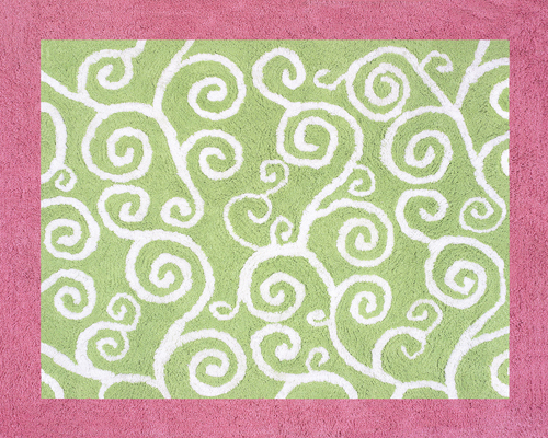 Beautiful Pink u0026 Green Scroll Print Rug - Kids Accent Floor Area Rug for pink and green rugs for girls room
