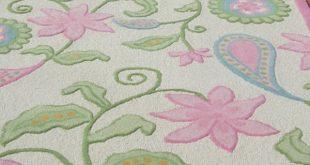 Stunning Modern Style Pink Floral Loop Woolen Area Rug pink floral area rug