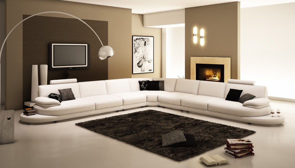 Popular 954 Contemporary White Italian Leather Sectional Sofa italian leather sofas contemporary
