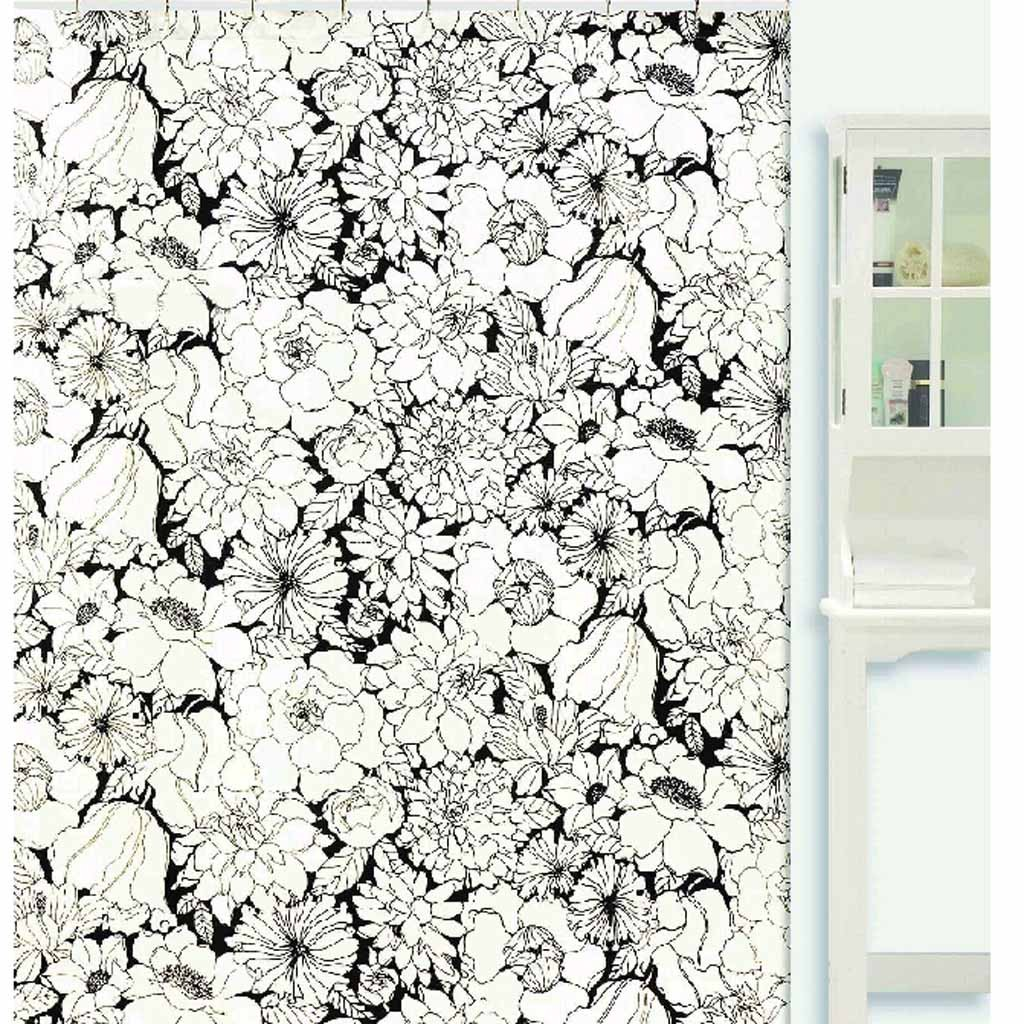 Popular Black and White Floral Shower Curtain black and white floral shower curtain
