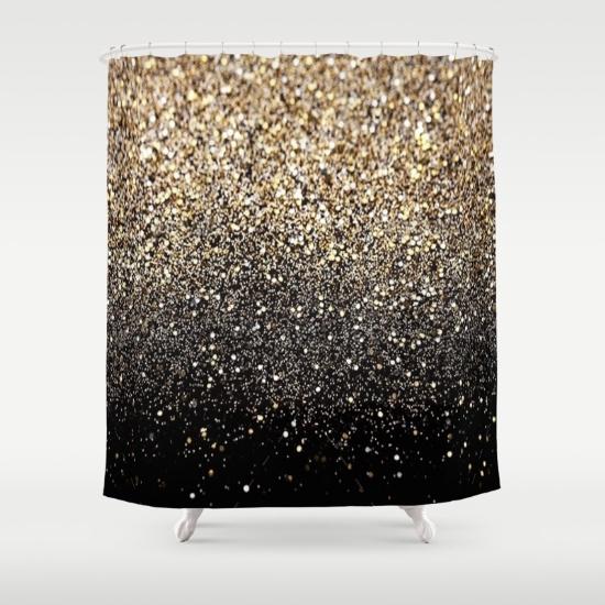 Popular Black u0026 Gold Sparkle Shower Curtain black and gold shower curtain