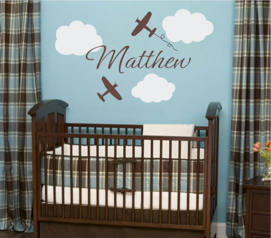 Popular ... Cute Baby Boy Wall Decals for Nursery : Attractive Baby Room wall design for baby boy room
