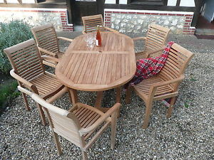 Popular Image is loading TEAK-GARDEN-FURNITURE-BIG-14-PIECE-034-SYRACUSE- quality teak garden furniture