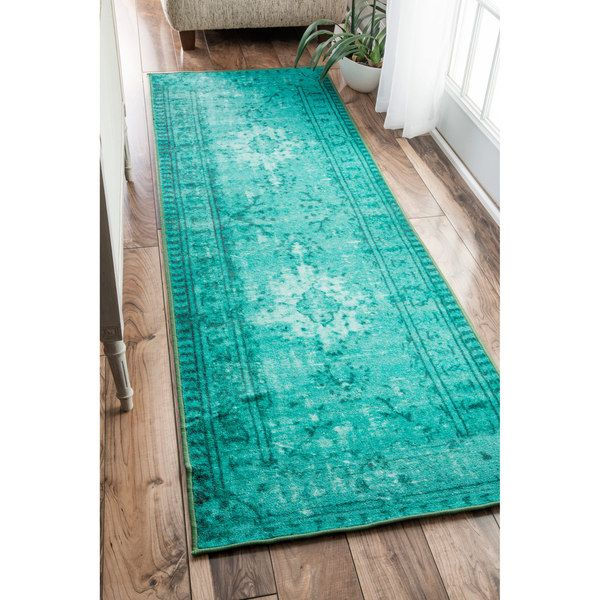 Popular nuLOOM Vintage Inspired Adileh Overdyed Turquoise Runner Rug (2u00278 x 8u0027) by turquoise kitchen rugs