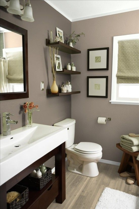 Pictures of Bathroom vanity, shelves and beige/grey color scheme. More bath ideas here: popular paint colors for bathrooms