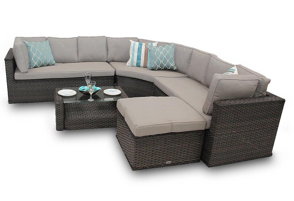 Por Rattan Corner Sofa Set New Brantwood Round Back 5 Piece