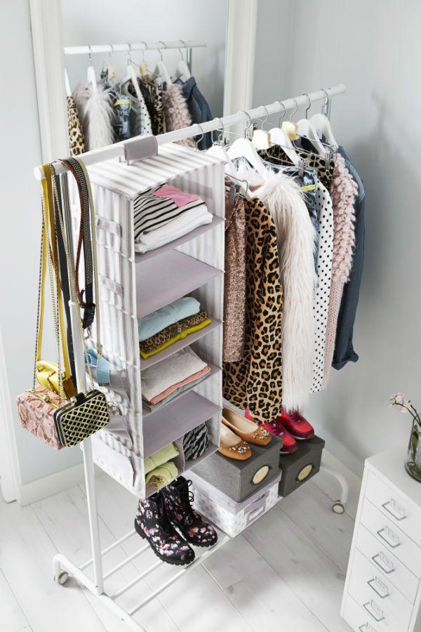 Popular SVIRA Hanging storage with 7 compartments, gray, white stripe wardrobe hanging storage solutions
