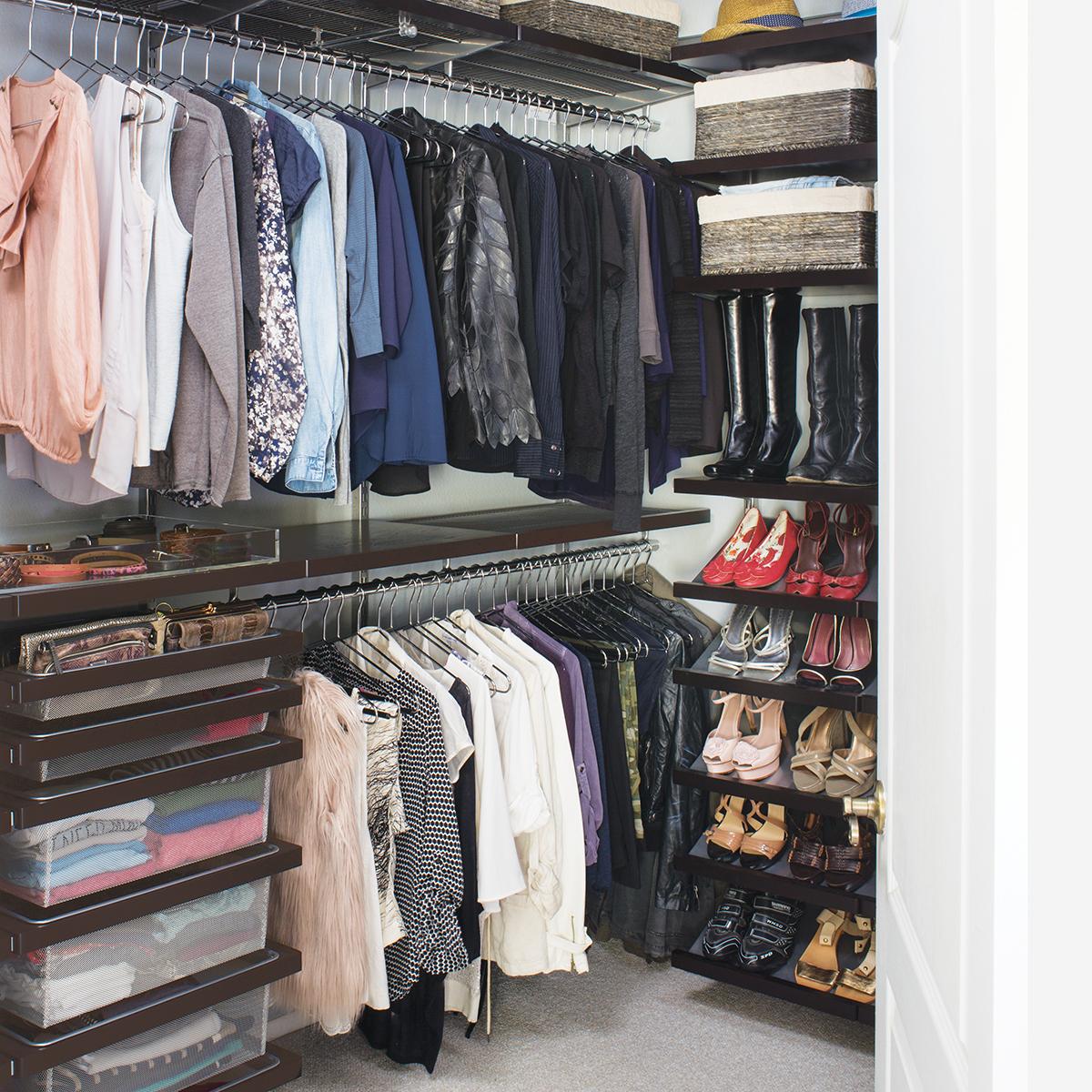 Popular Walnut elfa décor Walk-In Closet walk in closet systems