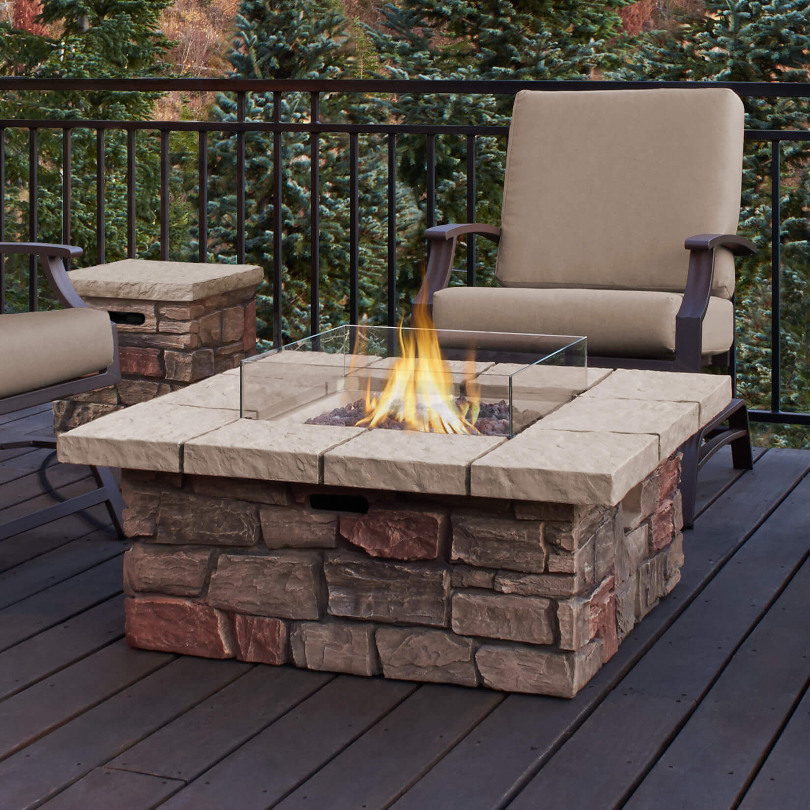 Cozy Give your home a cool fire pit table with this brick façade propane propane patio fireplace