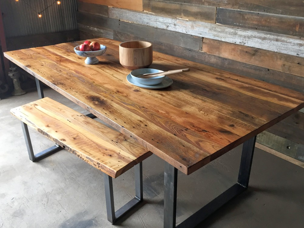 Cozy Industrial Modern Dining Table / U-Shaped Metal Legs. from 1,045.00. Wood: reclaimed wood dining table with metal legs