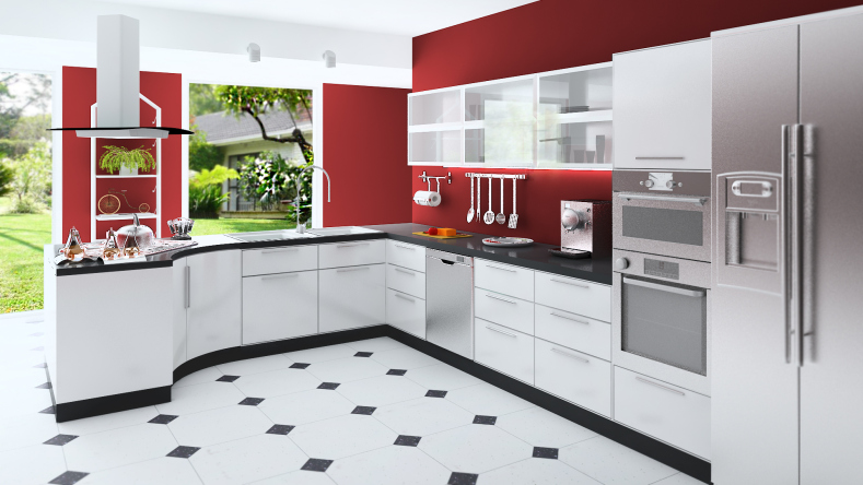 Elegant Custom modern kitchen with red walls, white cabinets, black and white floor red and white kitchen designs
