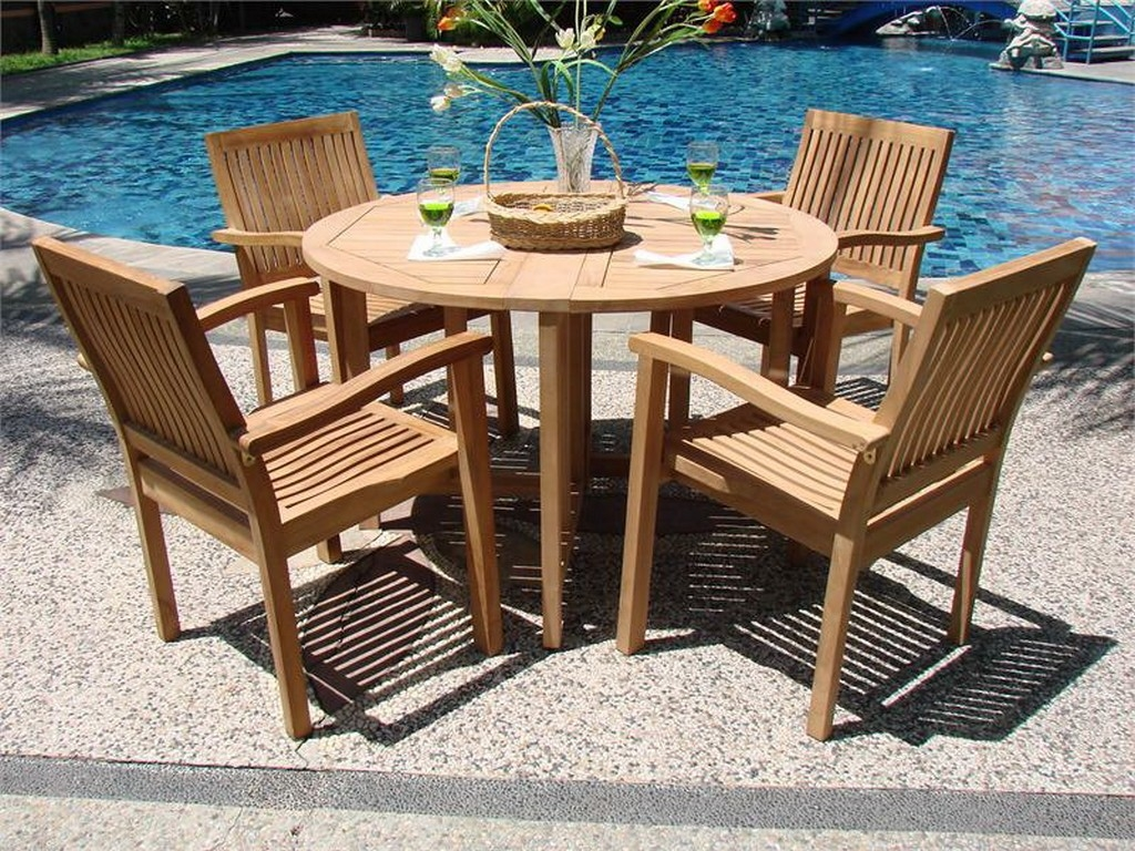 Simple Modern Wood Garden Furniture With Round Table And Teak Chairs By President round wooden garden table and chairs