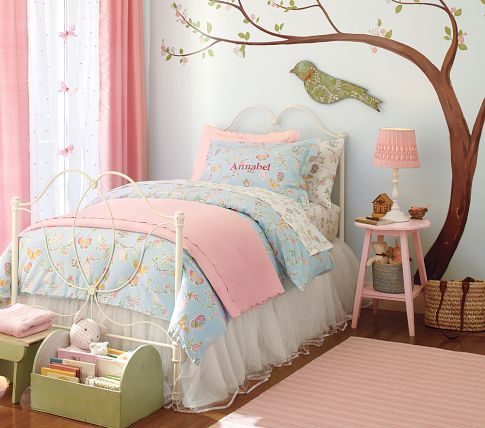 Cool Shabby Chic Girls Room. Love the colors. Can be found at: potterybarnkids shabby chic girls bedroom