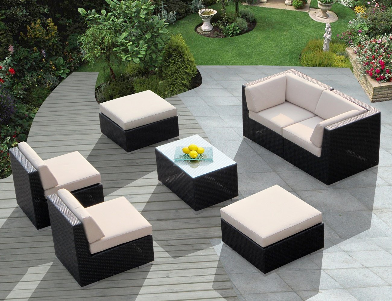 Simple Genuine Ohana Outdoor Wicker Furniture 7pc Couch Set With Beige Cushion wicker outdoor furniture sets