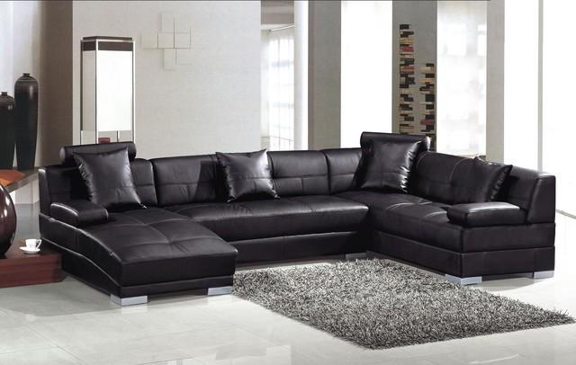Simple Modern Black Leather U Shape Sectional Sofa with Chaise modern-living-room u shaped leather sofa