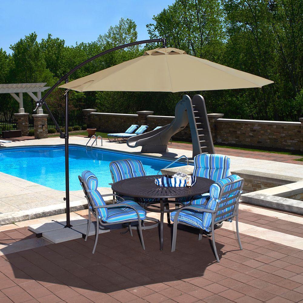 Simple Octagonal Cantilever Patio Umbrella in Beige Sunbrella Acrylic outdoor patio umbrellas
