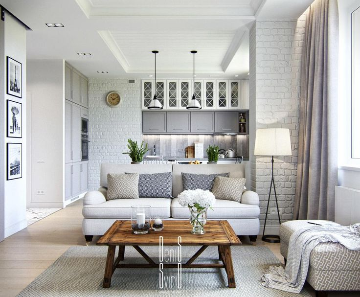Modern This small apartment has some great design features- brick walls, a white small apartment interior design