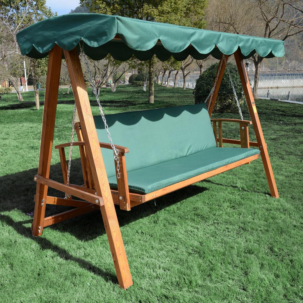 Stunning 3 Seater Wooden Garden Swing Chair Seat Hammock Bench Furniture Lounger Bed garden swing seat