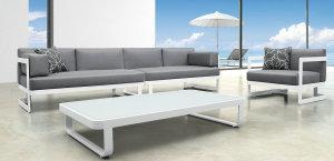 Stunning Aluminum Selectional Lounge Sofa Set Patio Metal Outdoor Furniture metal outdoor lounge furniture