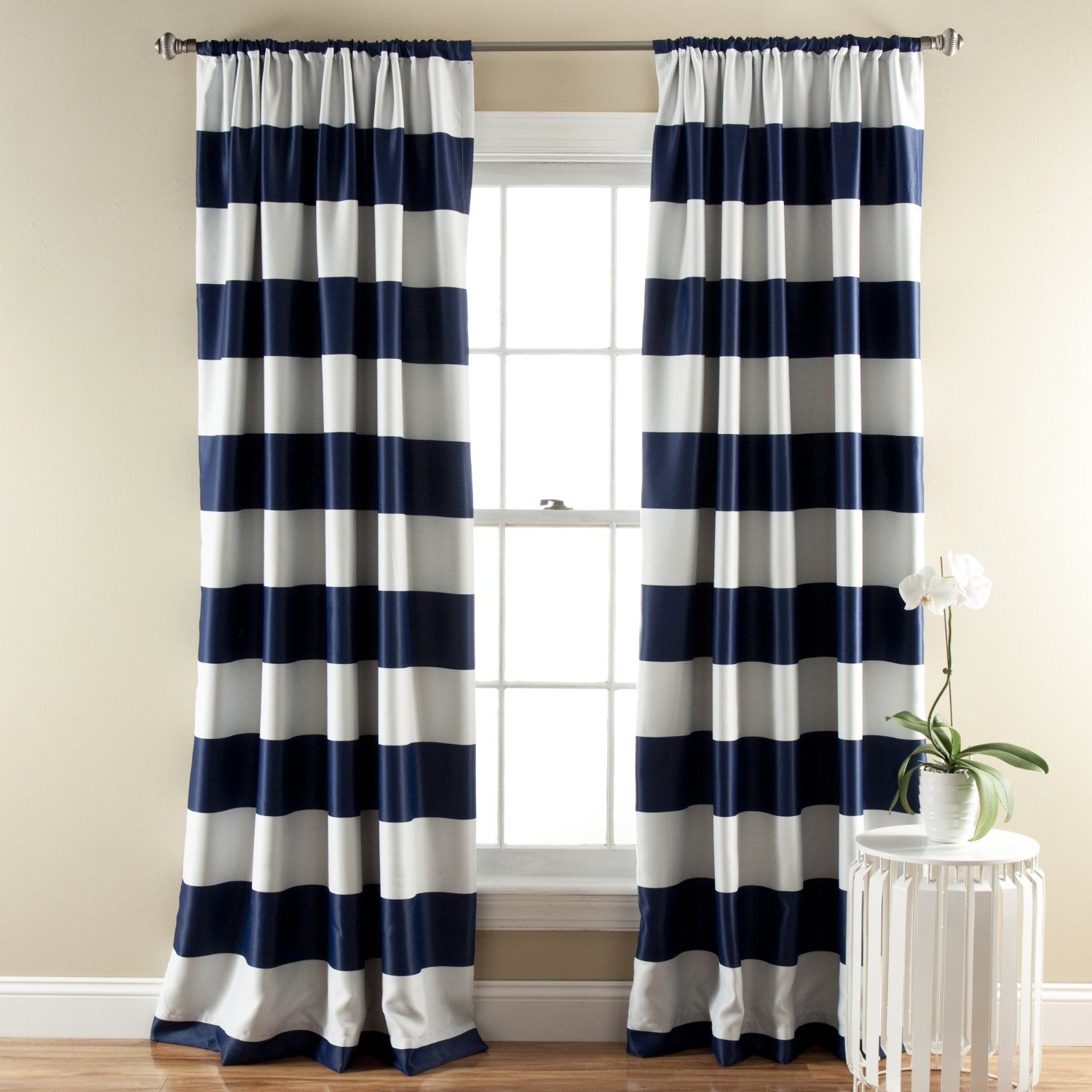 Stunning Amazon.com: Lush Décor Stripe Room Darkening Window Curtain Panel, 84 inch navy and white striped curtains