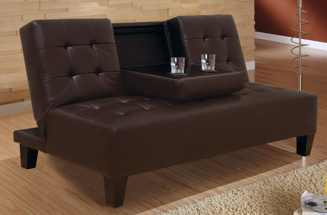 Stunning Basement Evita Dark Brown Futon Sofa Sleeper Bed W/ Cup Holder | brown futon sofa bed