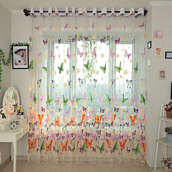Stunning Butterfly Printed Sheer Window Curtains Tulle Door Window Screen sheer butterfly curtains