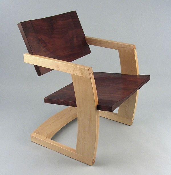 Stunning contemporary wood sled base chair PALO ALTO J. Rusten Furniture Studio modern wood furniture
