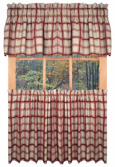 Stunning Country Logan Plaid Kitchen Curtains rustic kitchen curtains