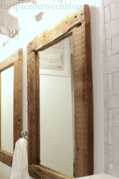 Stunning DIY reclaimed wood frames. Bathroom Mirrors ... wood framed bathroom mirrors