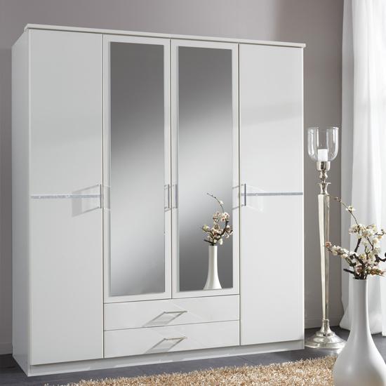 Stunning Florence Mirrored Wardrobe In White With Diamanté And 4 Doors - 19493 white mirrored wardrobe