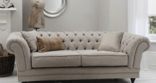 Stunning Furniture:Inspiring White Theme In A Room Decorated With Chesterfield Sofa  Accompanied With linen chesterfield sofa