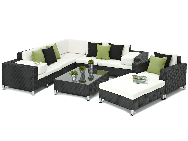 Stunning Furniture Range - Black Rattan Corner Sofa Set - Modern Outdoor Rattan rattan corner sofa set