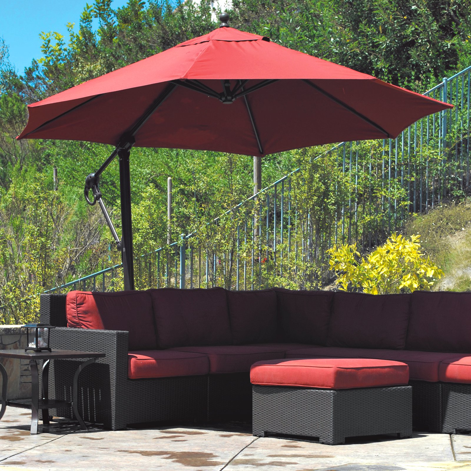 Stunning Galtech Sunbrella Easy Tilt 11-ft. Offset Umbrella with Wheeled Base - Patio offset patio umbrella