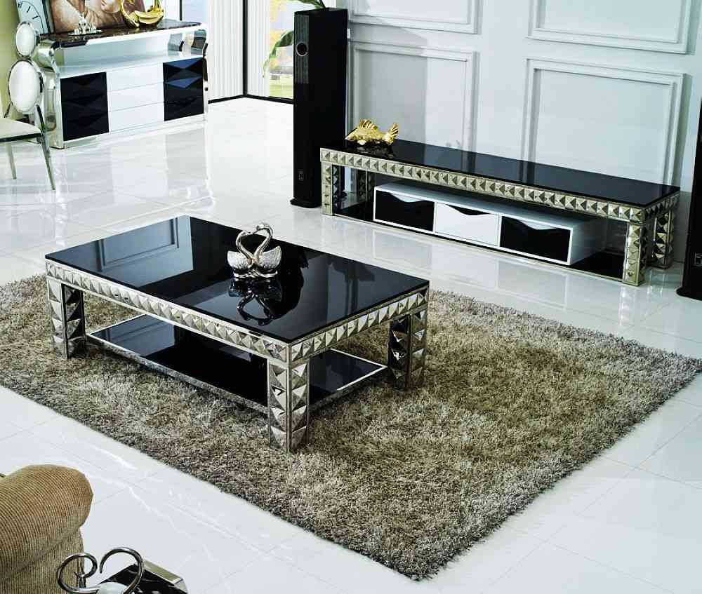 Stunning Glass Living Room Table Sets Rectangle Black Glass Top Table With Lower living room glass table sets
