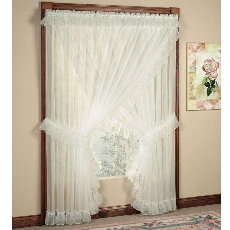 Stunning Jessica Ninon Ruffled Wide Priscilla Curtains priscilla curtains criss cross