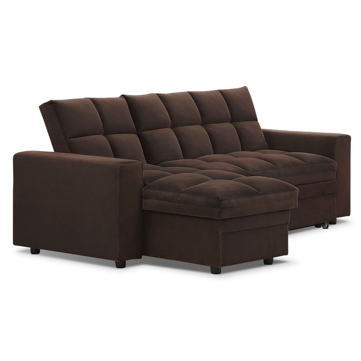 Stunning Living Room Furniture - Metro Chaise Sofa Bed with Storage - Brown sofa bed with storage