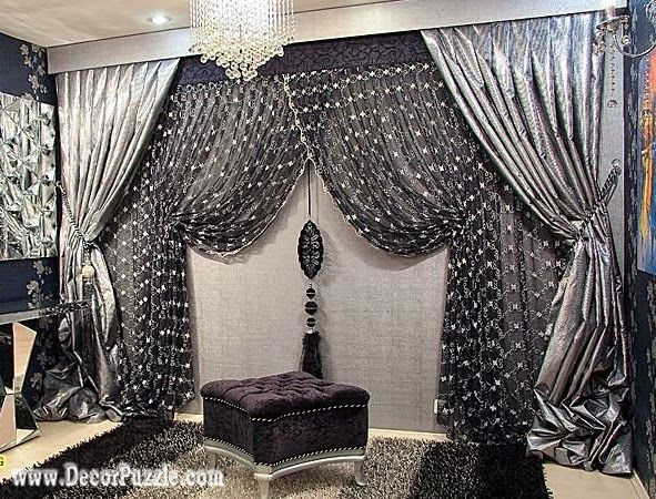 Stunning luxury classic curtains and drapes 2015 , black and silver curtains designs black and silver curtains