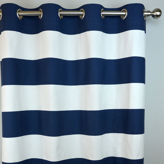 Stunning Navy White Horizontal Stripe Curtains - Cabana Grommet Top - 84 96 navy and white striped curtains