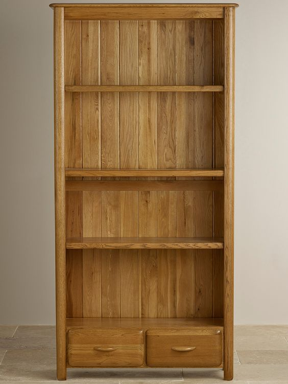 Stunning Osaka Rustic Solid Oak Large Bookcase Furniture Land oak furniture land bookcase