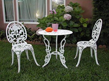 Stunning Outdoor Patio Furniture 3 Piece Cast Aluminum Bistro Set F CBM1290 cast aluminum bistro sets outdoor