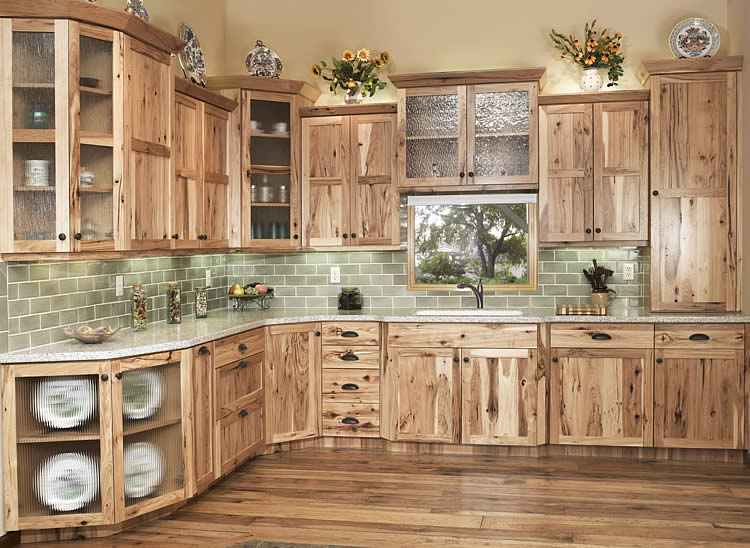 Stunning Retro Kitchen Area with Light Brown Shaker Kitchen Cabinet Style, Pale rustic wood kitchen cabinets