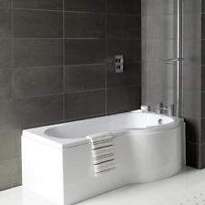 Stunning Right Hand P Shaped Shower Bath 1700mm Panel Glass Shower Screen Towel Rail replacement p shaped bath panel