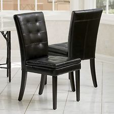 Stunning Set of 2 Dining Room Black Tufted Leather Dining Chairs black leather dining room chairs