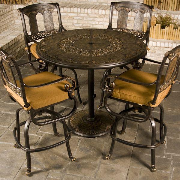 Stunning St. Moritz - Bar Height bar height patio set with swivel chairs