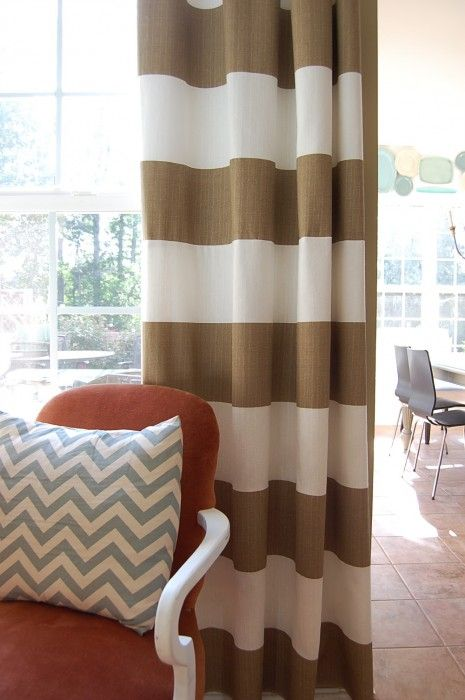 Stunning Striped drapes and chevron print accents - exactly what I want in horizontal striped curtains