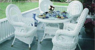 Stunning Victorian Wicker Dining Set of 5 white wicker furniture