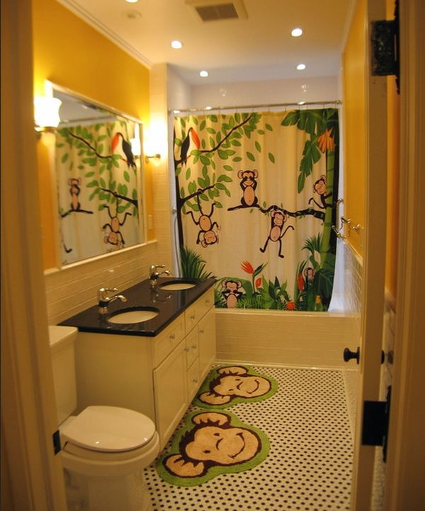 Stunning View in gallery Playful and vivid jungle theme surely lights up this kids bathroom decor ideas