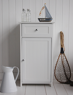 Stunning White Freestanding bathroom cabinet with 4 drawers from The White  LighthouseHeight: Width: bathroom cupboards freestanding